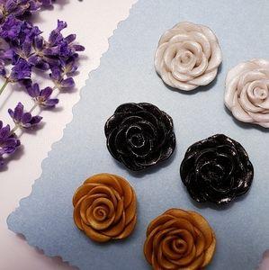 Hand-made clay flower earrings